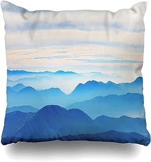 Ahawoso Throw Pillow Cover Snow Blue Peak Mountains Winter Shangri La in at Nature Sky Top Adventure Alps Altitude Decorative Pillowcase Square 20x20 Home Decor Zippered Cushion Case