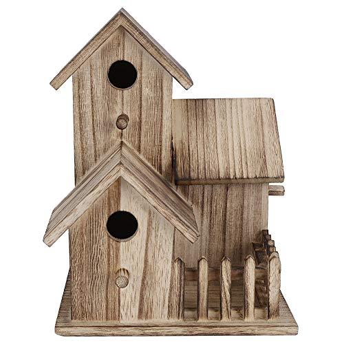FAMKIT Casita para pájaros de madera pequeña para jardín al aire libre Caja de anidación para pájaros Casa para pájaros Suministros para mascotas Decoración (No apto para pájaros grandes)