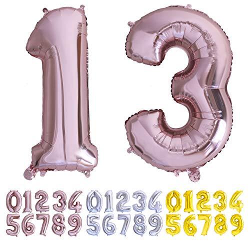 Globo numero 13 o 31 Oro Rosa. Globos Foil Gigante números 1 3 fiestas cumpleaños decoración fiesta aniversario boda tamaño grande 70 cm con accesorio para inflar aire o helio (13/31 Oro Rosa)