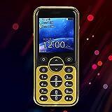 Semiter Mini Telefono, Mini Telefono Cellulare Semplice e vivido di Piccole Dimensioni, Funzionamento con Una Mano Persone di Mezza età e Anziani, utilizzo per Uomo d'Affari(Golden)