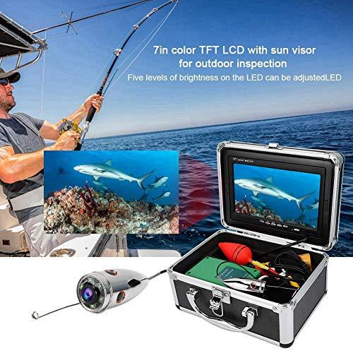 Cámara de Pesca subacuática, Monitor HD de 7 Pulgadas y 1000TVL Cámara de Video Sumergible a Prueba de Agua IP68 de 98.4 pies, para Pesca en Hielo, mar, río y Barco(Negro)
