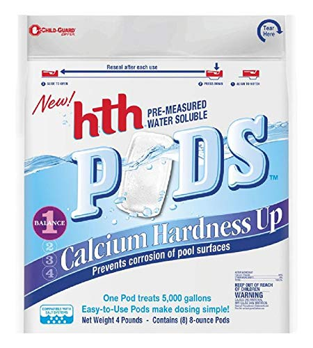 hth 67052 Pre-Measured Water Soluble Pool Chemical Pods, Calcium Hardness Up, 8
