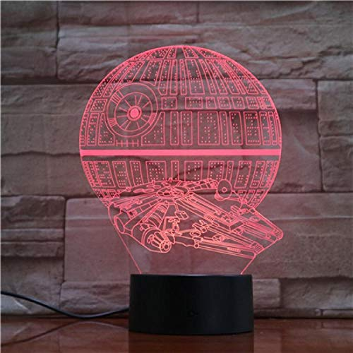 Luz De Ilusión 3D-Star Wars Estrella De La Muerte Luz Nocturna Lámpara Led 3D Lámpara De Humor Lámpara Decorativa Luz Nocturna Para Niños Regalos De Juegos-Control Remoto