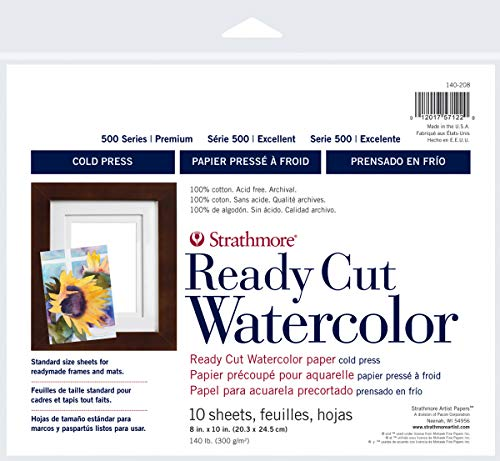 Strathmore 140-208 Ready Cut Watercolor, Cold Press, 8' x 10', White, 10 Sheets