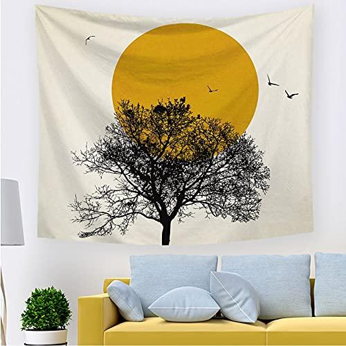 Tapiz puesta de sol pájaro volador tapiz acuarela hippie naturaleza paisaje tapiz colgante de pared decoración tela colgante A3 130x150cm
