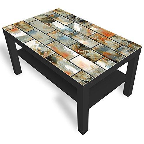 IKEA Lack Beistelltisch Couchtisch 'Keramische Fliesen' Sofatisch mit Motiv Glasplatte Kaffee-Tisch von DEKOGLAS, 90x55x45 cm Schwarz