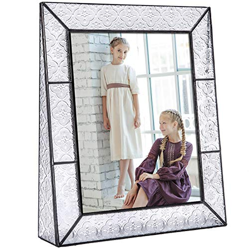 Clear Glass Picture Frame 8x10 Vertical Photo Display Desk or Tabletop Vintage Home D
