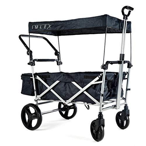 IMLEX IM-9002 Antrahzit Faltbarer Bollerwagen mit Schiebe u. Zieh Funktion, Große Hinterräder mt Bremse gefederte Vorderräder