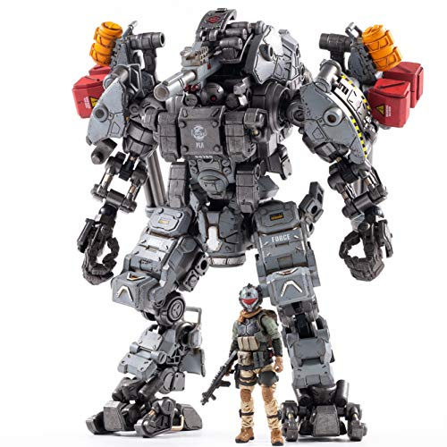 JoyToy 1/25 Action Figures Steel Bone H-05 Heavy Firepower Mecha(Gray) Armor and Female Soldier Anime Figure Collection Modern Military Model Dark Source Toys