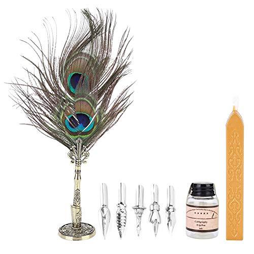 Bolígrafo de plumas, juego de bolígrafos caligráficos de estilo retro vintage, caja de regalo para la decoración de la mesa de regalo de escritura de estudiantes