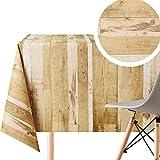 Rustikale Holz-Tischdecke, abwischbar, Textiloptik, rechteckig, 250 x 140 cm, 8 Sitzplätze, wasserdichte Vinyl-PVC, abwischbare Kunststoff-Tischdecke für Garten und Küche, Braun / Beige