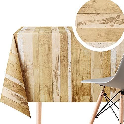 Rustikale Holz-Tischdecke, abwischbar, Textiloptik, rechteckig, 200 x 140 cm, für 6 Personen, aus dickem Vinyl-PVC, abwischbarer Kunststoff-Tischdecke, wasserdichtes Wachstuch, Braun / Beige