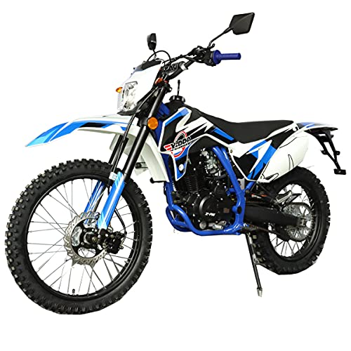 X-PRO Titan DLX 250cc Gas Dirt Bike Pit Bike Adult Bike,Big 21'/18' Wheels, Zongshen Engine!(Blue)
