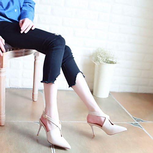Xue Qiqi Cour d'arrière Fendue Chaussures Sandales vides Exposés Pointe Chaussures Bouche Peu Profondes avec des Croix et des Chaussures à Talons Hauts Chaussures Unique,37, Beige