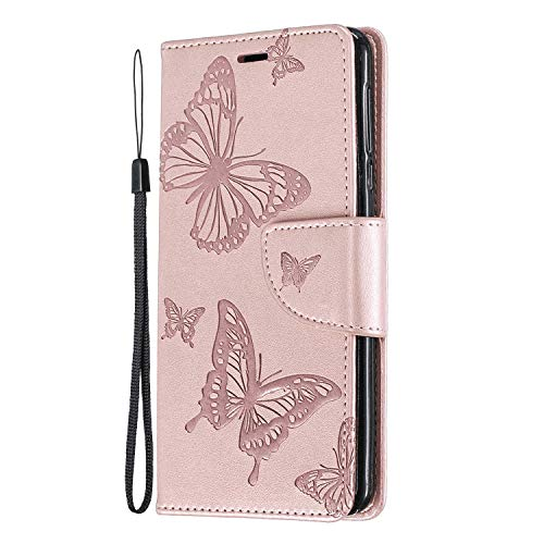 Leather Flip Case Fit for iPhone Xs Max, Kickstand Premium Card Holders Rose Gold Wallet Cover for iPhone Xs Max
