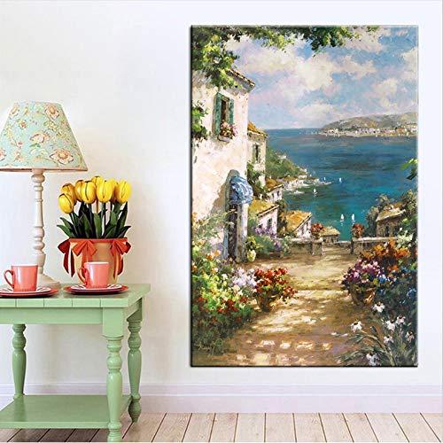 Pittura a olio astratta nordica del fiore Vista della via Arte della parete Tela Pittura del mare Stampa artistica Poster Immagine della parete per Soggiorno - Senza cornice 50X70CM PHR-1237