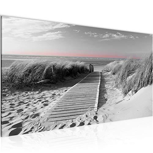 Bilder Strand Meer Wandbild Vlies - Leinwand Bild XXL Format Wandbilder Wohnzimmer Wohnung Deko Kunstdrucke Rosa Grau 1 Teilig - MADE IN GERMANY - Fertig zum Aufhängen 604012c