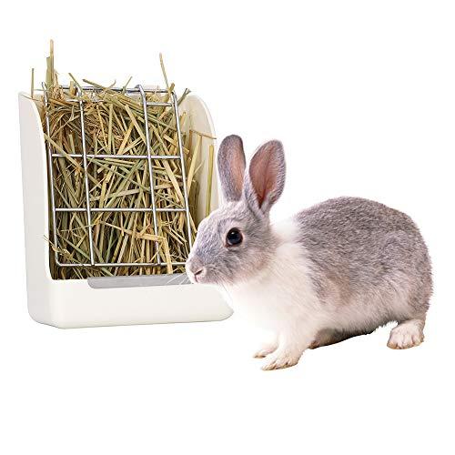 GZGZADMC alimentador de heno portátil Menos desperdiciado para Conejos, cobayas, Chinchilla, dispensador de Alimentos de plástico, Color Blanco