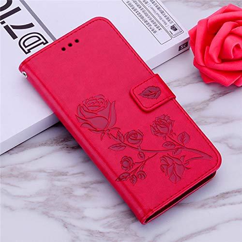 QiuKui - Funda de piel con tapa para Xiaomi POCO X3 NFC A1 5X F1 Redmi Note 4X 5A 6 7 8 9S Pro Redmi 9A 9C Funda con ranuras para tarjetas (color: rojo, material: para Redmi 9A)