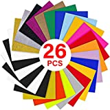 YRYM HT Heat Transfer Vinyl Bundle : 26 Pack 12' x 10' Sheets Iron on Vinyl20 Assorted Colors Heat Press Vinyl for Iron on Fabrics T-Shirts Heat Press Machine or Silhouette Cameo