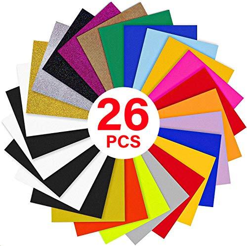 "YRYM HT Heat Transfer Vinyl Bundle : 26 Pack 12"" x 10"" Sheets Iron on Vinyl,20 Assorted Colors Heat Press Vinyl for Iron on Fabrics T-Shirts Heat Press Machine or Silhouette Cameo"