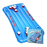 Mikamax – Inflatable Beer Pong Piscine – Beer Pong Gonflable – Jeu Beer Pong Pool – Blue – Taille 145 x 60 cms – avec Porte-gobelets – Piscine Biere Pong Gonflable Matelas – Beer Pong Gonflables