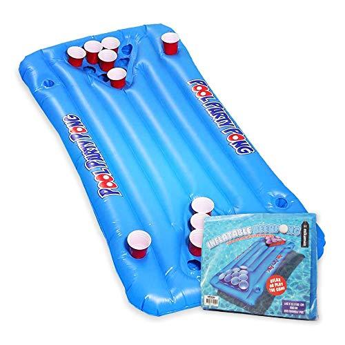 mikamax - Aufblasbarers Bier Pong – Large - Blau - Pool Luftmatratze – Inflatable Beer Pong - Trinkspiele - Pool Floß – Pong Tisch