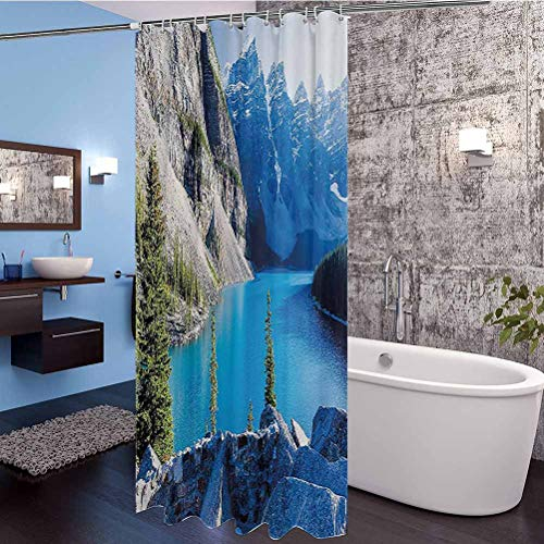 """Interestlee Nature Extra Long Shower Curtain, Moraine Lake Banff National Park Canada Mountains Pines Valley of The Ten Peaks Waterproof Cloth Polyester Bath Curtain, 108"""" x 72"""""""