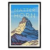 Matterhorn Blatt. Vintage-Stil. Poster Stadtfarben. Ad