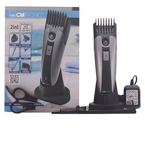 Clatronic Haar- und Bartschneidemaschine HSM/R 3313, Edelstahl-Präzisionsscherkopf, 3/5/9/13/16 mm, Soft Touch-Griffeinlage, LED-Ladeanzeige, titan/schwarz