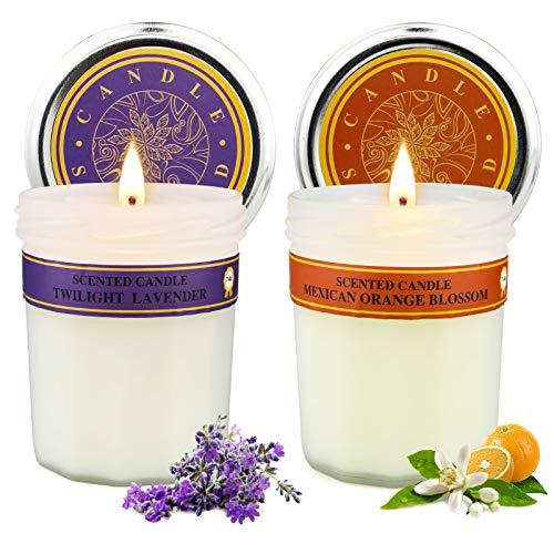Yinuo Candle Duftkerzen Geschenkset,Lavendel und Orangenblüten duft,Dauerhaftes Brennen für 50 Stunden,2er in Dose Kerzen Sojawachs Kerzen für Geburtstag,Muttertag.