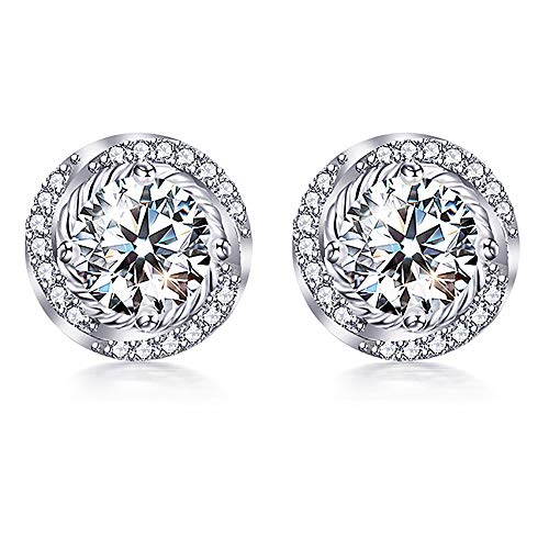 VAN RORSI&MO Stud Earrings - 14k White Gold Plated Earrings 5A Cubic Zirconia Twist Stud Earrings Jewelry Gifts Stud Earrings for Women