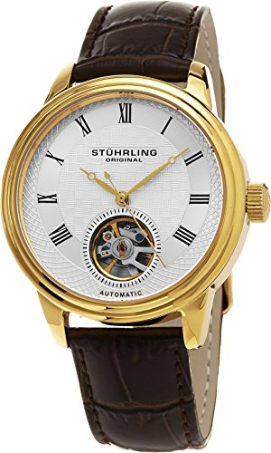 Stuhrling Original Men's Automatic Watch with Silver Dial Analogue Display and Brown Leather Strap 780. 03