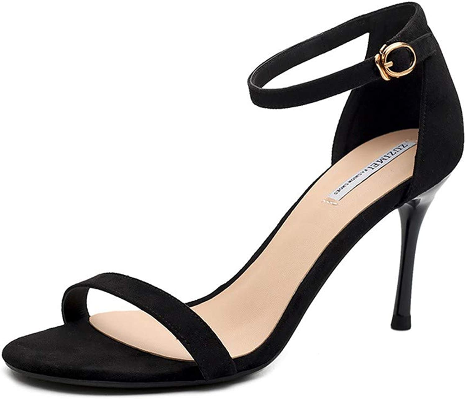 Top Shishang Black Button with high Heel Stiletto with Wild Open Toe Sandals