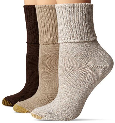 Gold Toe Women's 3-Pack Bermuda Turn Cuff Sock Brown Mix 9-11 (Shoe Size 6-9)