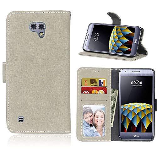 Sangrl Lederhülle Schutzhülle Für LG X Cam K580 (5.2 Zoll), PU-Leder Klassisches Design Wallet Handyhülle, Mit Halterungsfunktion Kartenfächer Flip Hülle Grau