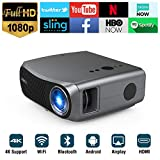 Full HD 1080P Wifi Bluetooth Projector Support 4K, 5500 Lumen Smart Wireless LCD...