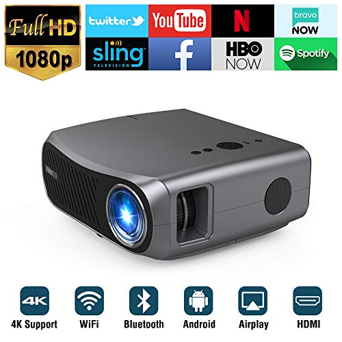 WiFi Bluetooth Projector Full HD 1080P Native 4K Support, 5500 Lumen Smart Android Wireless LED LCD Video Projectors 1920x1080 HDMI USB VGA AV Audio for Home Cinema Movie Gaming TV Outdoor PPT