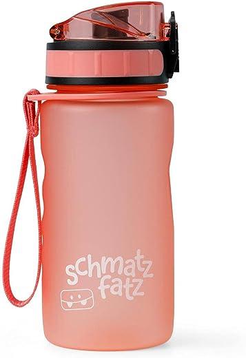schmatzfatz auslaufsichere Sport Trinkflasche Kinder, BPA frei, 350ml, Fruchteinsatz, 1-klick Verschluss, Kinder Trinkflasche für Schule...