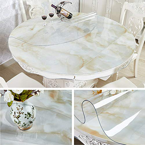 Yizunnu Nappe ronde transparente en PVC de 1,5 mm de diamètre pour table Transparent
