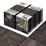 Interbuild Acacia Carreaux de terrasse en bois dur 30 × 30 cm 10 TUILES = 0,9 m2 par PACK Pour Patio et Balcon GARANTIE 5 ANS Unique espresso