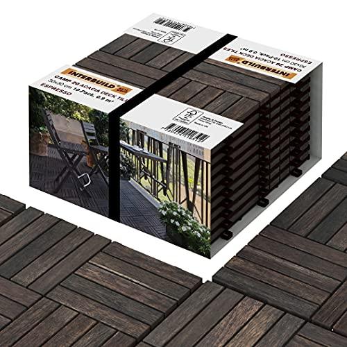 INTERBUILD Acacia pavimento per esterno   Espresso   30 x 30 cm, 0,9 ㎡ per CONFEZIONE   pavimento esterno incastro per Patio e Balcone, giardino, piscina gazebo