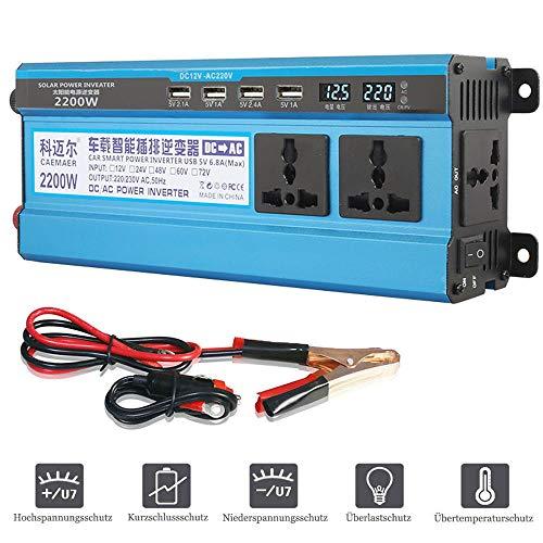 LIMEID Spannungswandler 500W 1200W 1600W 2200W, Modifizierter Sinus Wechselrichter Dc 12V 24V 48V 60V Zu Ac 220V 230V Stromrichter Mit 4 USB Ports FüR Auto, Camping, Reisen,2200W-12V