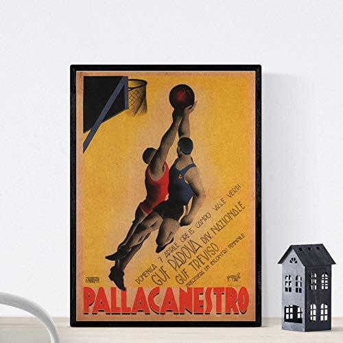 Nacnic Poster Vintage. Cartel Vintage anunciador de Campeonato de Baloncesto en Italia. Tamaño A3