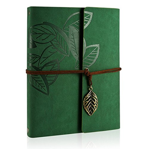 ZEEYUAN Scrapbook, Memories Scrapbook Leaf Soft Leather Album Family Self-Adhesive Books Special Birthday Gifts Unique Gift for Women(Green)
