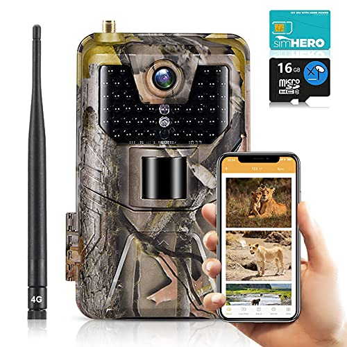 SUNTEKCAM 4G Live-Übertragung Wildkamera Fotofalle 4K 30MP Jagdkamera & Staubdicht Nachtsichtkamera mit HandyüBertragung Überwachungskamera Mit Durchflusskarte