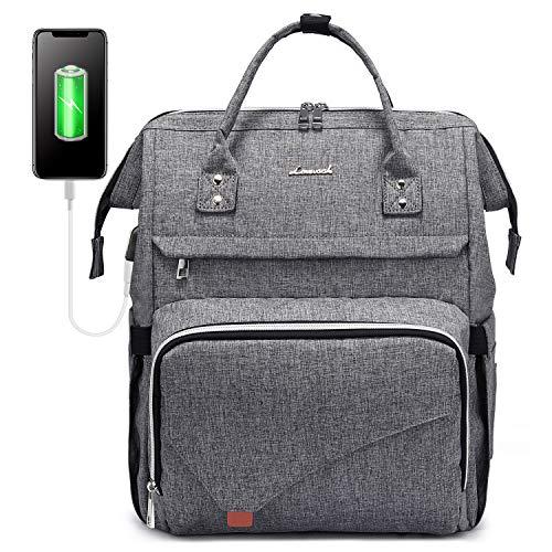 LOVEVOOK Rucksack Damen groß wasserdichte Laptop Rucksack Schultasche 15,6 Zoll Tagesrucksack mit Laptopfach und Anti-Diebstahl Tasche, für Universität Reisen Herren, Grau
