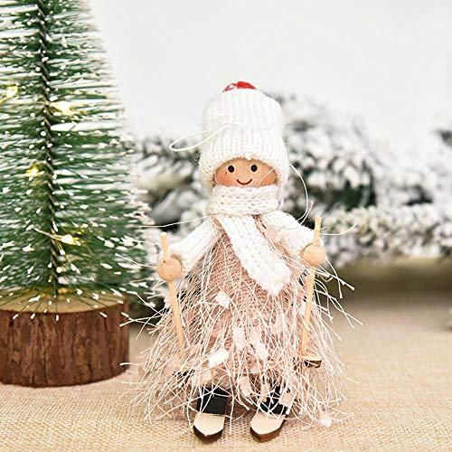 TOPmountain Christmas Tree Pendants Hanging Ornaments - Christmas Doll Ski, Christmas Cute Tassel Doll for Home Festival Party Christmas Tree Decor(Pink Boy)