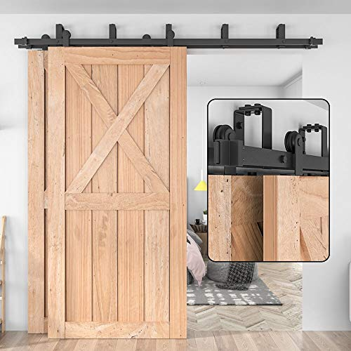 "WINSOON Top Mount Double Bypass Barn Door Hardware 6 FT Track Double Door Kit, Overlapping, One-Piece Rail, Heavy Duty, Slide Smoothly Quietly, Easy Install, Fit Up to Two 36"" Wide Door Panel"