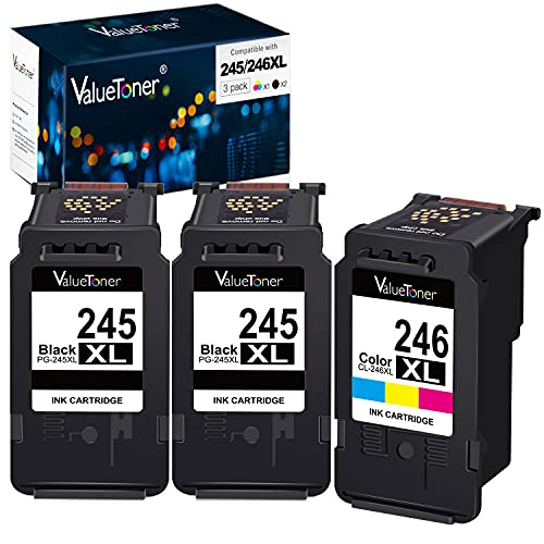 Valuetoner Remanufactured Ink Cartridge Replacement for Canon Pg-245Xl Cl-246Xl PG-243 CL-244 to use with Pixma MX492 MX490 MG2420 MG2520 MG2522 MG2920 MG2922 MG3022 MG3029 (3-Pack)